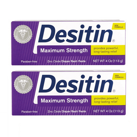 (2 pack) Desitin Maximum Strength Baby Diaper Rash Cream with Zinc Oxide, 4 (Best Way To Cure Diaper Rash Fast)