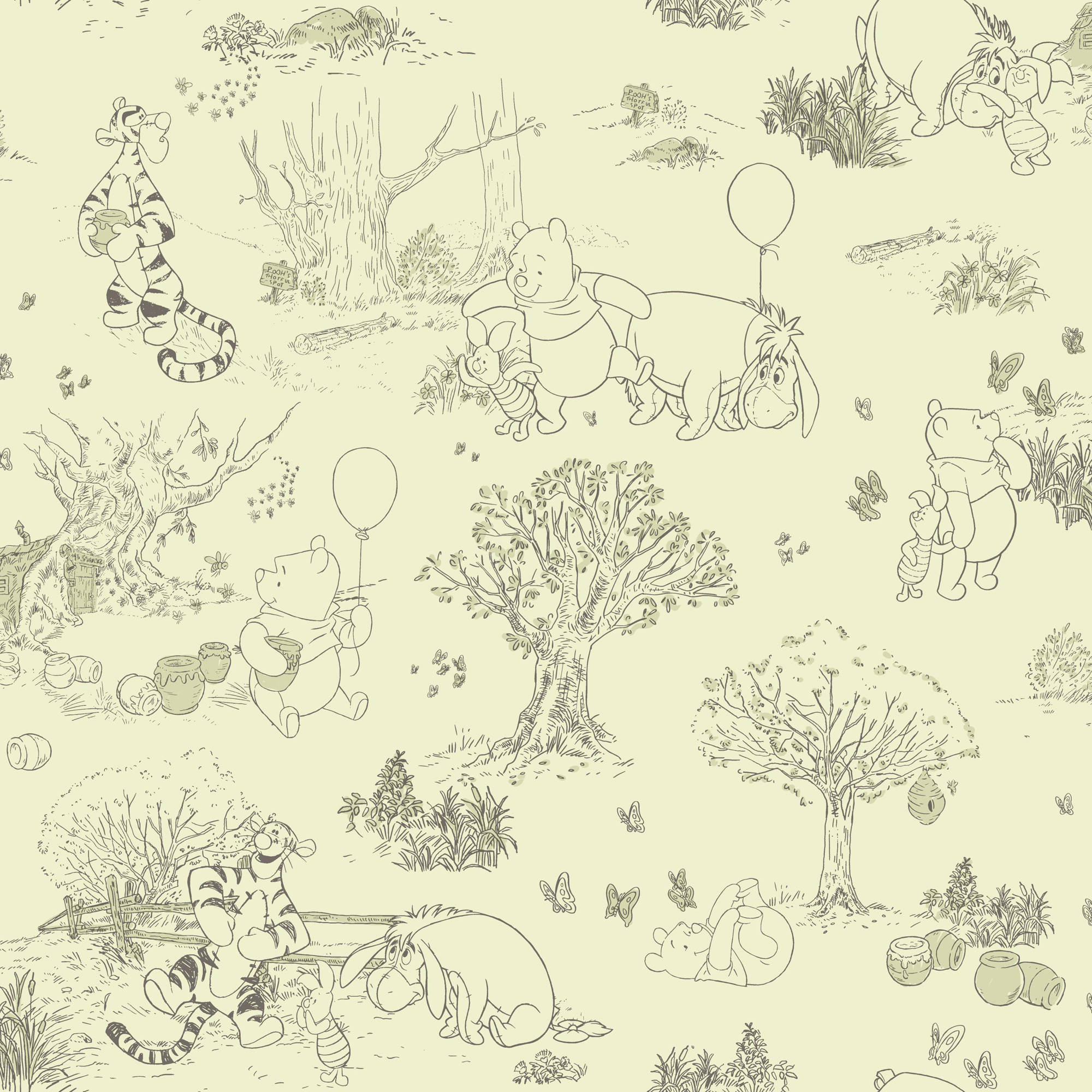 Walt Disney Kids II Pooh and Friends Toile Wallpaper