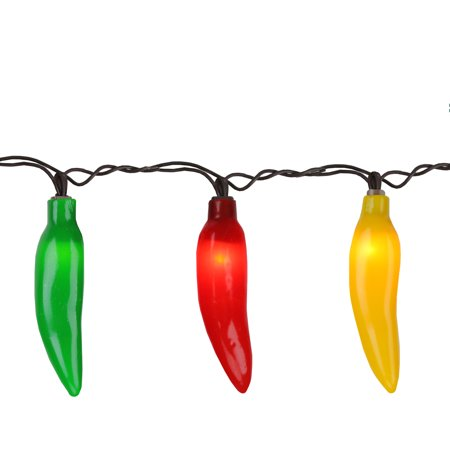 35-Count Yellow and Green Chili Pepper String Light Set, 22.5ft Brown