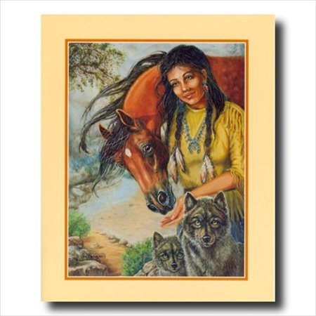 Handmade Native American Indian Horse - Native Indian Girl Horse Wolf Wall Picture Art Print
