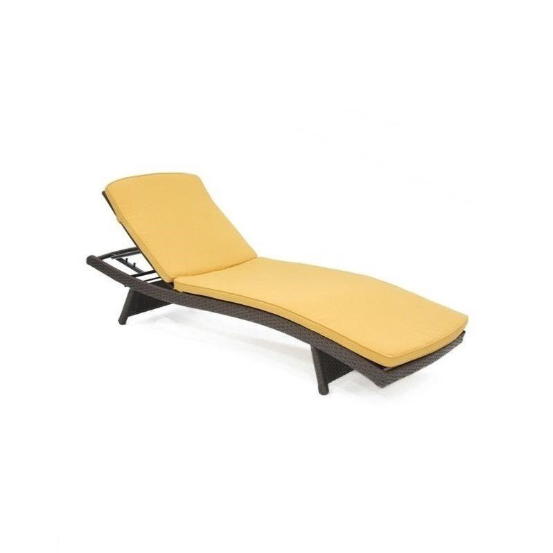 Jeco Wicker Adjustable Chaise Lounger in Espresso with Tan Cushion by Jeco Inc.