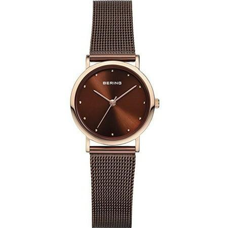 13426-265 Women's Watch Slim Rose Gold Stainless Steel Case Brown Mesh Band (Rose Gold Mesh Watch)