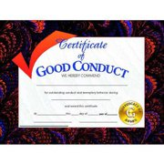 "Hayes Good Conduct Certificate, 8.5"" x 11"", Pack of 30"