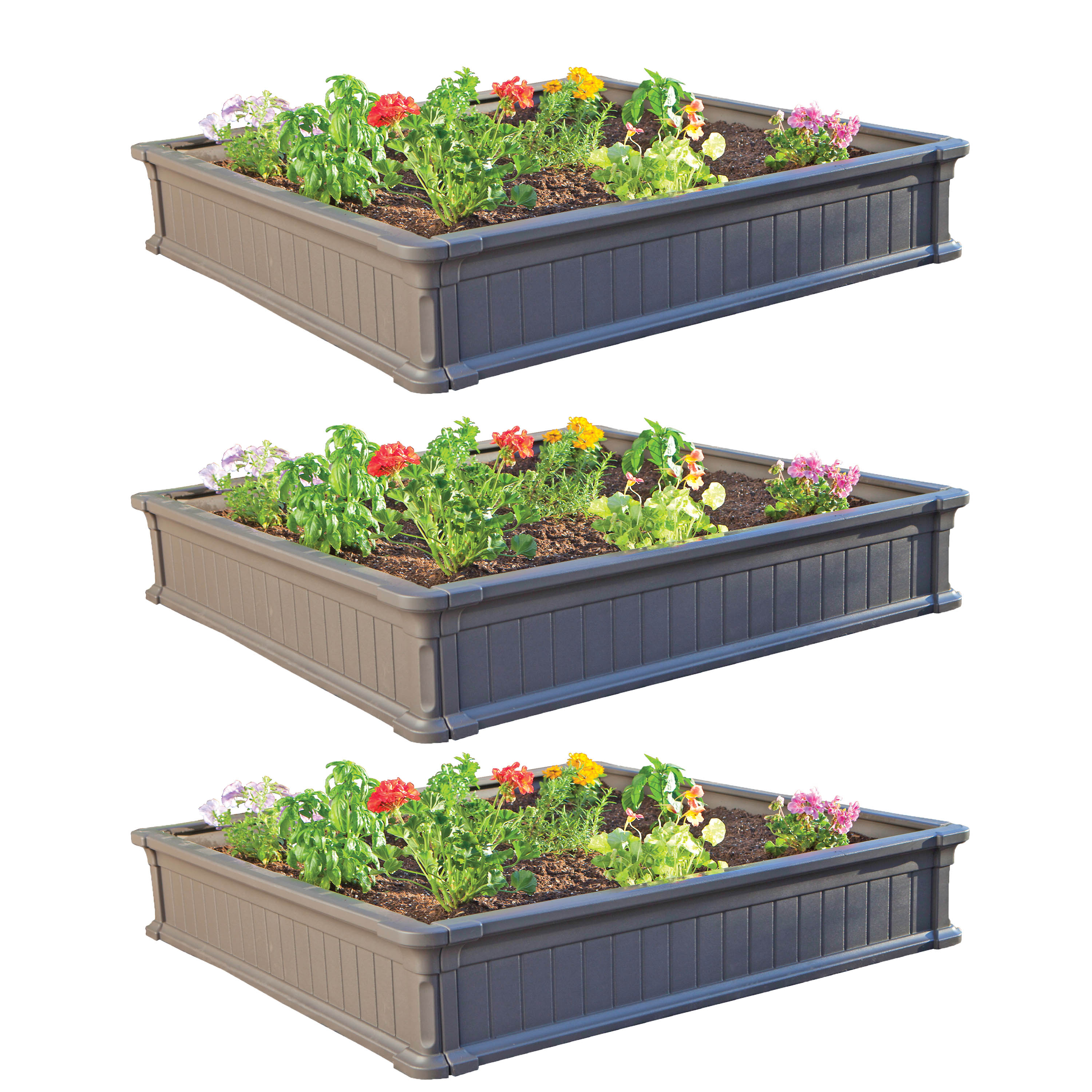 Lifetime 4' x 4' Raised Garden Kit (3 Beds), 60069