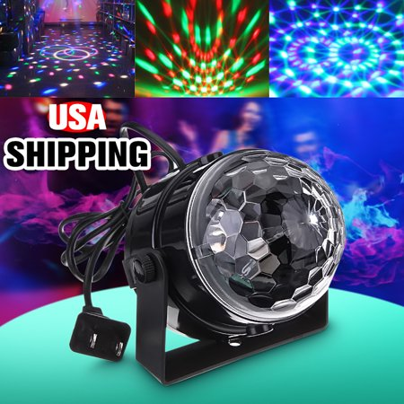DJ Light Sound Activated Party RGB Lights Disco Ball Club lights Effect Magic Mini Led Stage Lights for Christmas Birthday Party KTV Wedding Show Pub Auto Lighting Feature 110-240V](Mini Disco Ball)