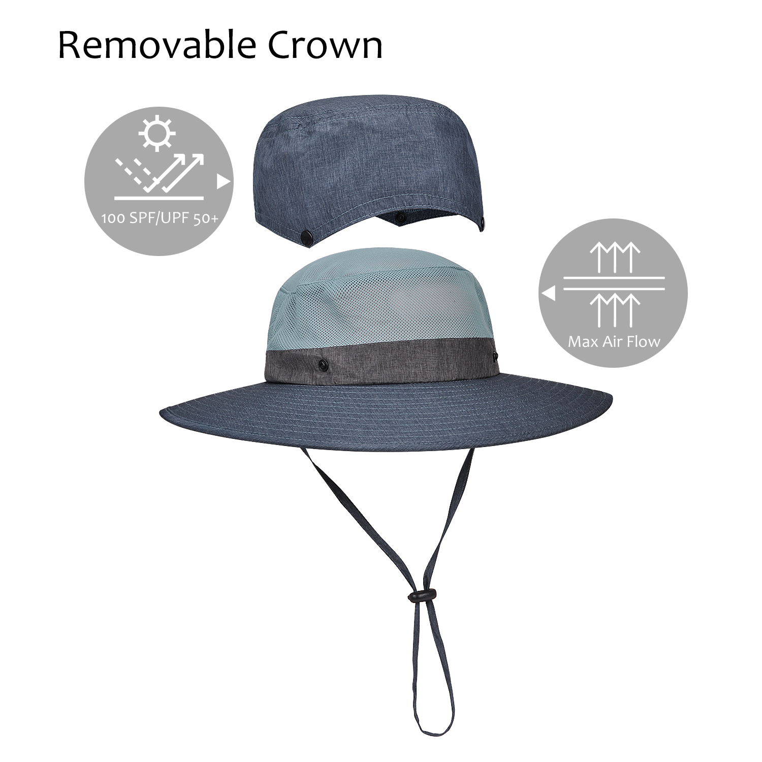 12cf6da2989 Tirrinia Unisex Safari Sun Hat Wide Brim Boonie Cap with Adjustable  Drawstring and Removable Bucket Crown for Camping Hiking Fishing Hunting  Boating ...