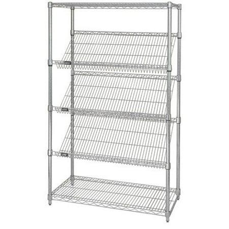 "18"" Deep x 48"" Wide x 74"" High 5 Tier Slanted Wire Shelf Starter Shelving Unit"