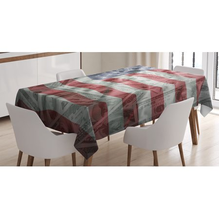 American Flag Decor Tablecloth, American Dollar on Flag Money Currency Exchange Value Global Finance Idol, Rectangular Table Cover for Dining Room Kitchen, 60 X 84 Inches, Multi, by