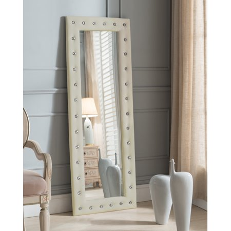 Jane Floor Standing Mirror, Beige Upholstered Tufted Faux Leather, Transitional, With Crystal Buttons (63