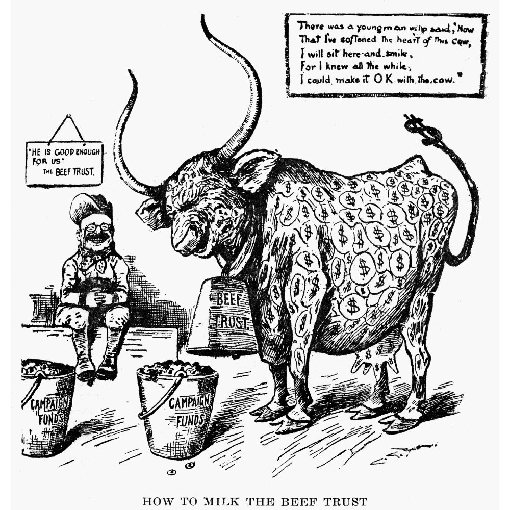 Roosevelt Cartoon 1904. Namerican Newspaper Cartoon