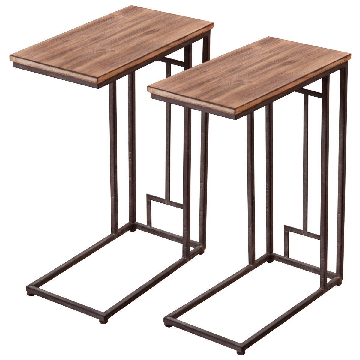 costway 2pcs solid wood coffee tray side sofa end table ottoman couch stand