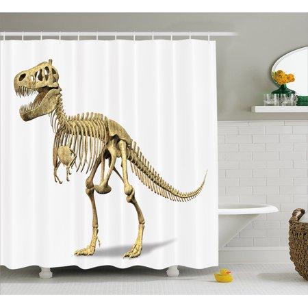 Dinosaur Shower Curtain Primeval Wildlife Concept Fossil Animal Skeleton Paleontology Predator Creature Fabric Bathroom