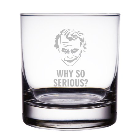 Joker Why So Serious? Engraved 10 oz Rock