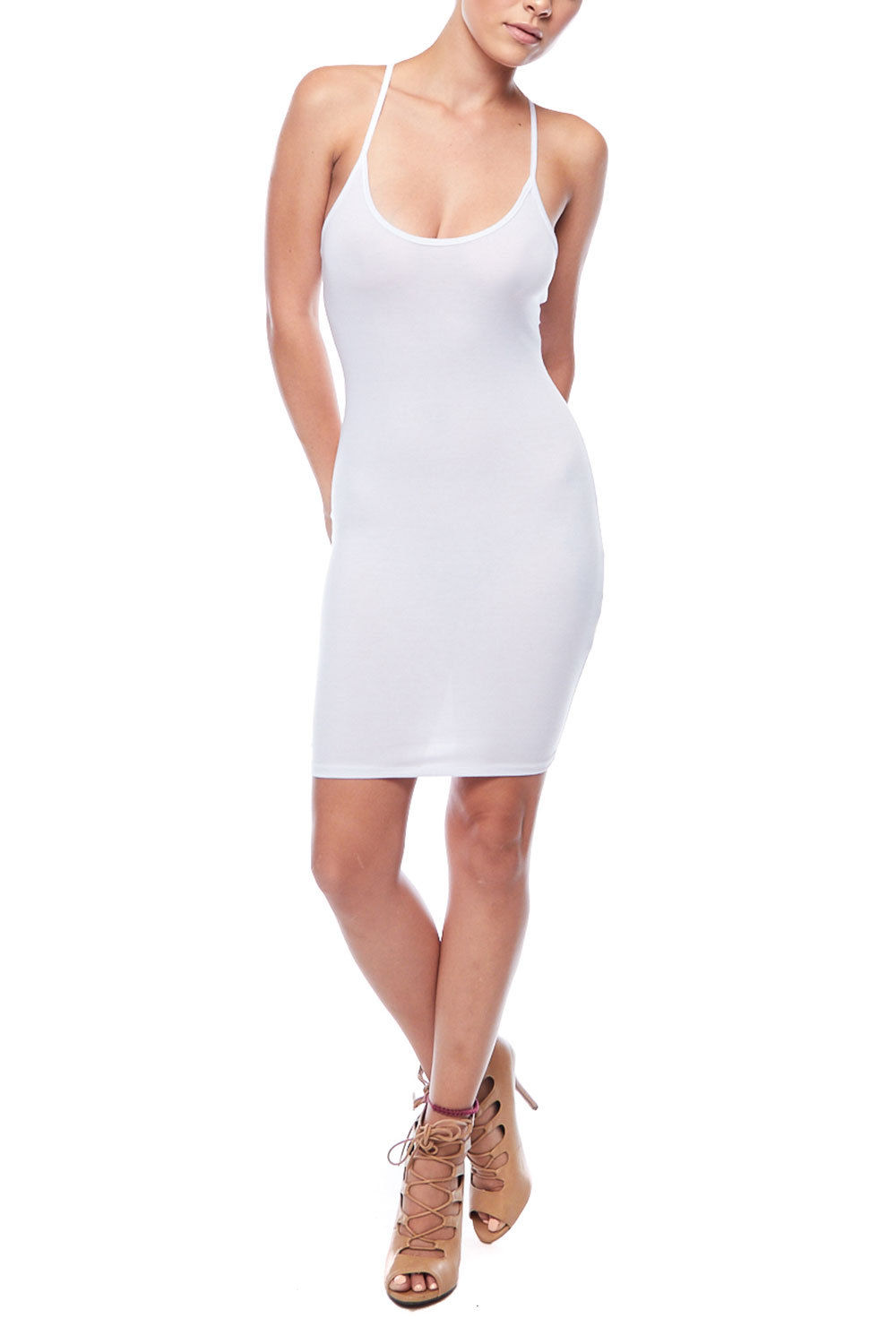 2a4af2625f26 Genx - Plain Spaghetti Strap Mini Dress-M-White - Walmart.com