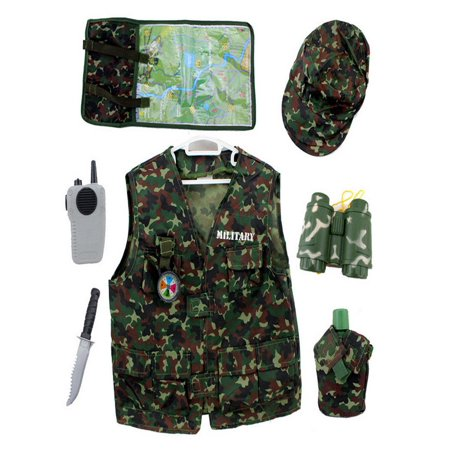 TopTie Camo Tactical Soldier Costumes, Military Motif Role Play Set For Kid-Green-S (Military Costume)