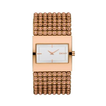 Beekman?? Glitz, Rose Gold Tone Bracelet, Rectangle White Dial, Women's Watch NY8446