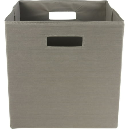 Better homes gardens taupe fabric storage bin with open handles for Better homes and gardens storage bins