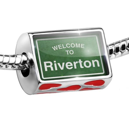 Bead Green Road Sign Welcome To Riverton Charm Fits All European Bracelets
