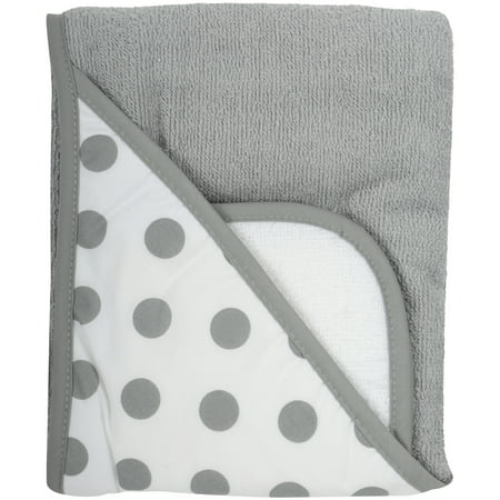 TL Care Cotton Terry Hooded Towel Set, Grey Dot