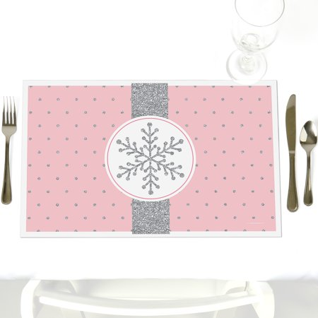 Pink Winter Wonderland - Party Table Decorations - Holiday Snowflake Birthday Party or Baby Shower Placemats - Set of 12](Winter Wonderland Decorations)