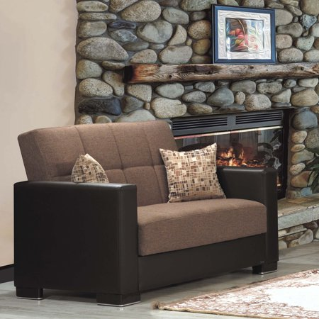 Armada Fabric Upholstery Love Seat with Storage (Sanded Loveseat)