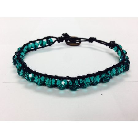 Emerald Green Single Wrap Stackable Bracelet Wrapping