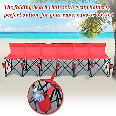 Strong Camel Folding Chair Sports 6 Seater Sideline Portable Bench w Cup Holder and Carry (6 Seater Portable Bench)