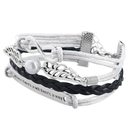 Zodaca Fashion Leather Cute Infinity Charm Bracelet Jewelry Silver lots Silver/Black Wing