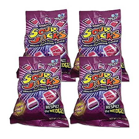 (4 Pack) Sour Jacks Gluten Free Soft & Chewy Candy Wildberry, 5.0 OZ - Sour Jacks