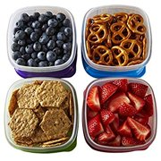 Fit & Fresh Stak Pak Portion Control 1-Cup Container Set, 4 BPA-Free Reusable Food Storage Containers and Ice Packs, Healthy Lunch and Snack for School/Work