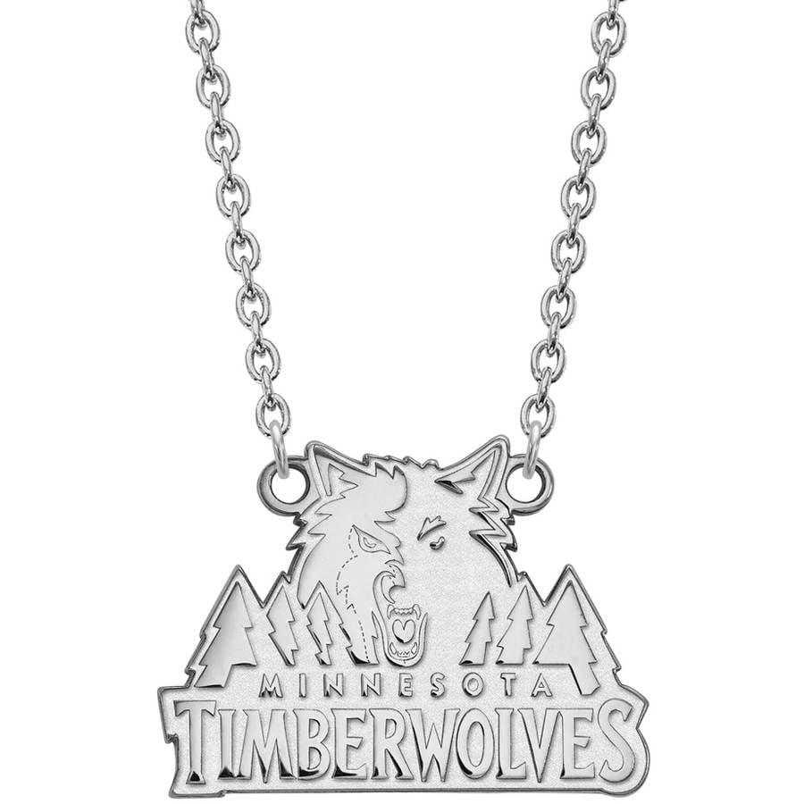 LogoArt NBA Minnesota Timberwolves 14kt White Gold Large Pendant with Necklace
