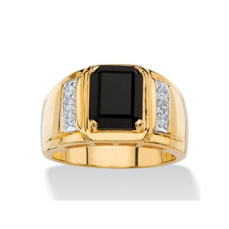 Men's 1/5 TCW Genuine Black Onyx and White Diamond Classic Ring 18k Gold-Plated ()