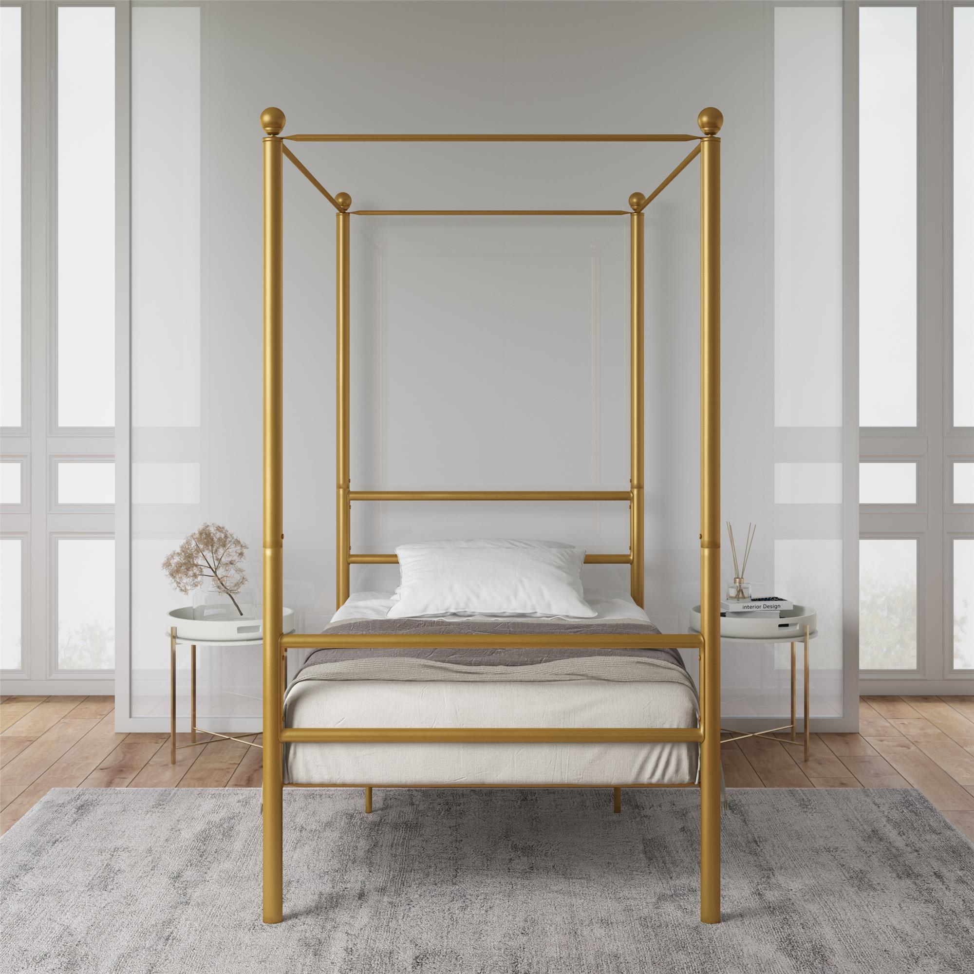 Mainstays Canopy Bed Twin Gold Metal Walmart Com Walmart Com
