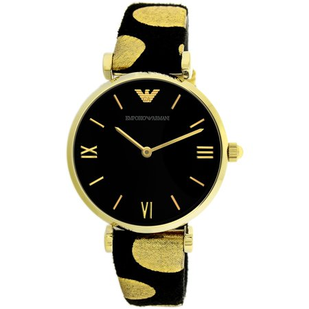 bbdf7f5fdd Emporio Armani - Emporio Armani Women s Dress AR7411 Black Gold Leather  Analog Quartz Fashion Watch - Walmart.com