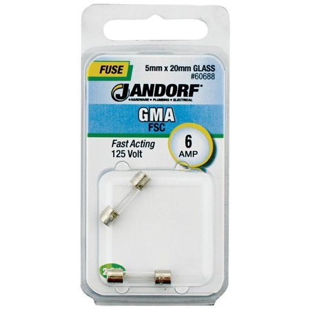 Jandorf GMA 6 amps 125 volts Glass Fast Acting Fuse 2