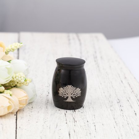 Black Family Tree of Life Keepsake Funeral Cremation Urn for Ashes Mini Stainless Steel Waterproof Human Ashes Container with Free Anavia Pouch Keepsake Funeral Cremation Urn