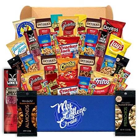 My College Crate Man Box Ultimate Men's Snack Care Package for College Students - Variety Assortment of Cookies, Pretzels, Chips, Jerky & Nuts - 40 Snacks - College Survival Kit](Halloween Snacks For Kindergarteners)