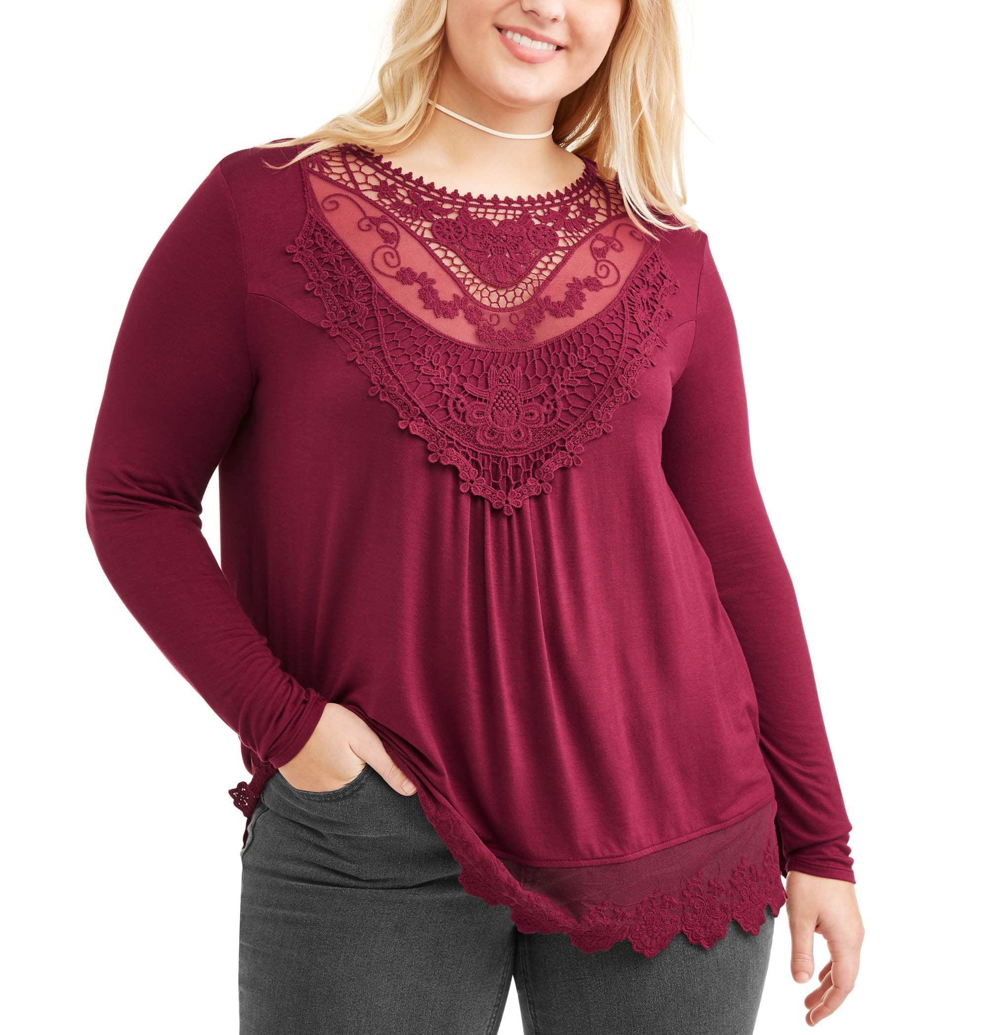 Junior Plus Long Sleeve Crochet Trim Floral Applique Victorian Top