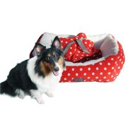 drowzzzy Polka Dots Print 3-piece Plush Bolster Pet Bed, Blanket and Toy Gift Set Red Medium