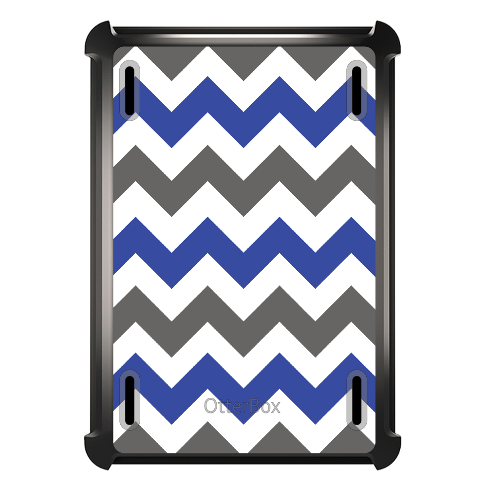 CUSTOM Black OtterBox Defender Series Case for Apple iPad Air 2 (2014 Model) - Blue Grey Chevron Stripes