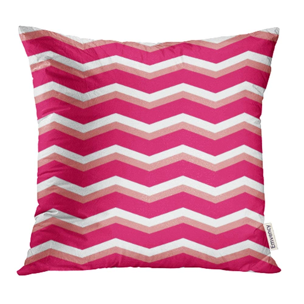 YWOTA Orange Kids Zig Zag Chevron Pink and White Pattern Abstract Arrow Baby Flat Graphic Pillow Cases Cushion Cover 16x16 inch
