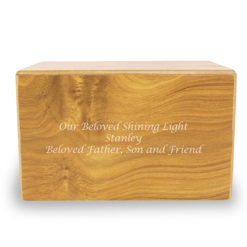Wood Cremation Urn - Large 200 Pounds -  Brown Sliding Panel - Engraving Sold Separately