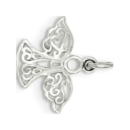 925 Sterling Silver Filigree Angel (20x20mm) Pendant / Charm