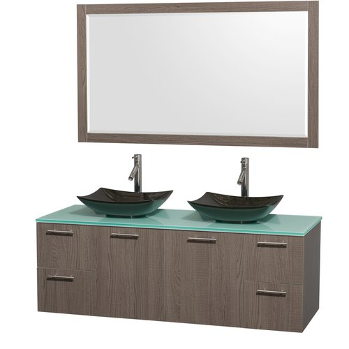 Wyndham Collection Amare 60 inch Double Bathroom Vanity in Gray Oak, Green Glass Countertop, Arista Black Granite Sinks, and 58 inch Mirror