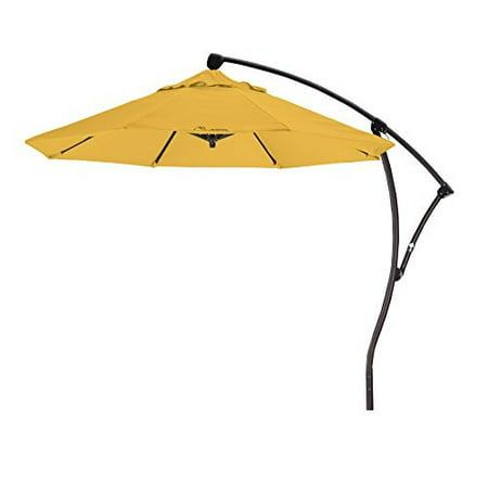 - Eclipse Collection 9 Cantilever Market Umbrella Deluxe Crank Lift - Bronze/Pacifica/Yellow