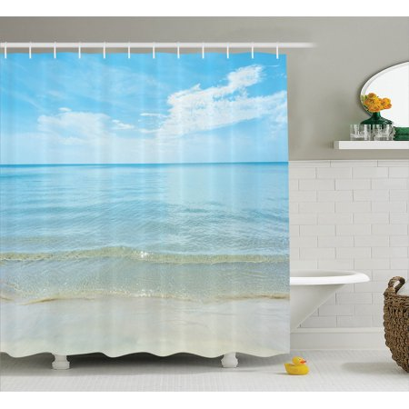 Ocean Decor Shower Curtain Set  Bright Sunny Summer Day At The Sandy Beach Tranquil Calm Shore Sea Horizon Image Artprint  Bathroom Accessories  69W X 70L Inches  By Ambesonne