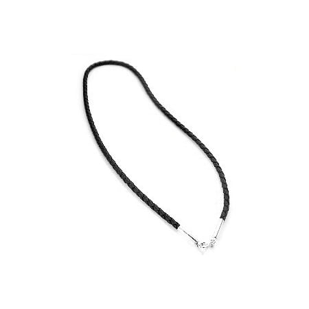 Black Leather Cross Necklace - Sterling Silver Black Leather 30
