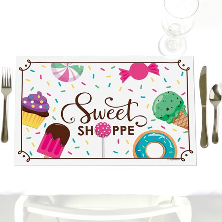 Sweet Shoppe - Party Table Decorations - Candy and Bakery Birthday Party or Baby Shower Placemats - Set of 12 for $<!---->