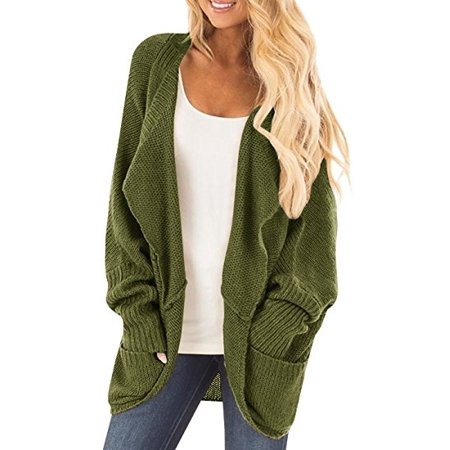 Women's Pocket Knitted Long Sleeve Sweater Cardigan Tops ()