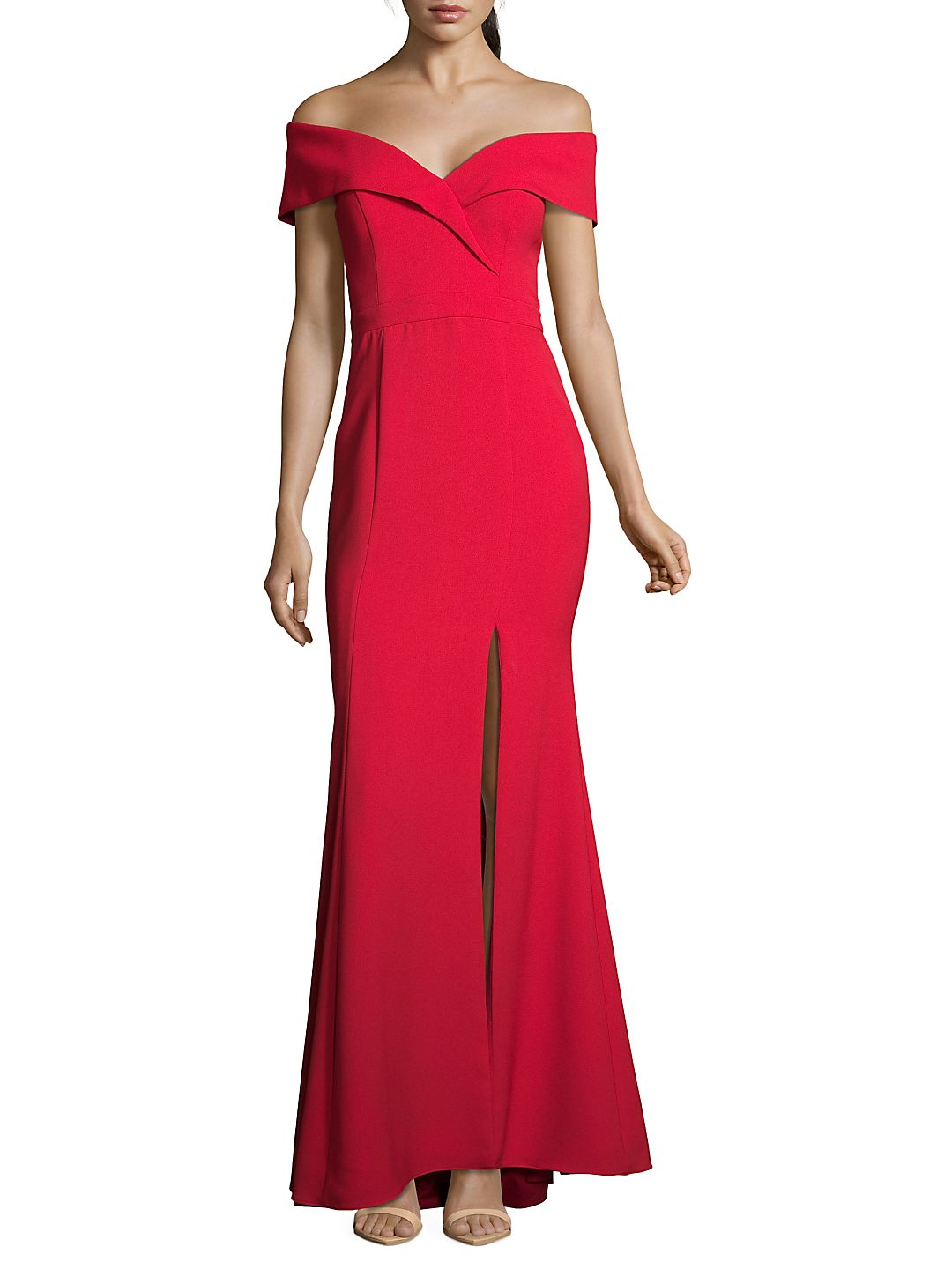 Xscape Womens Petites Crepe Off-The-Shoulder Formal Dress